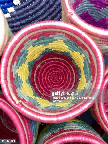The textures and designs of an African hand-woven basket