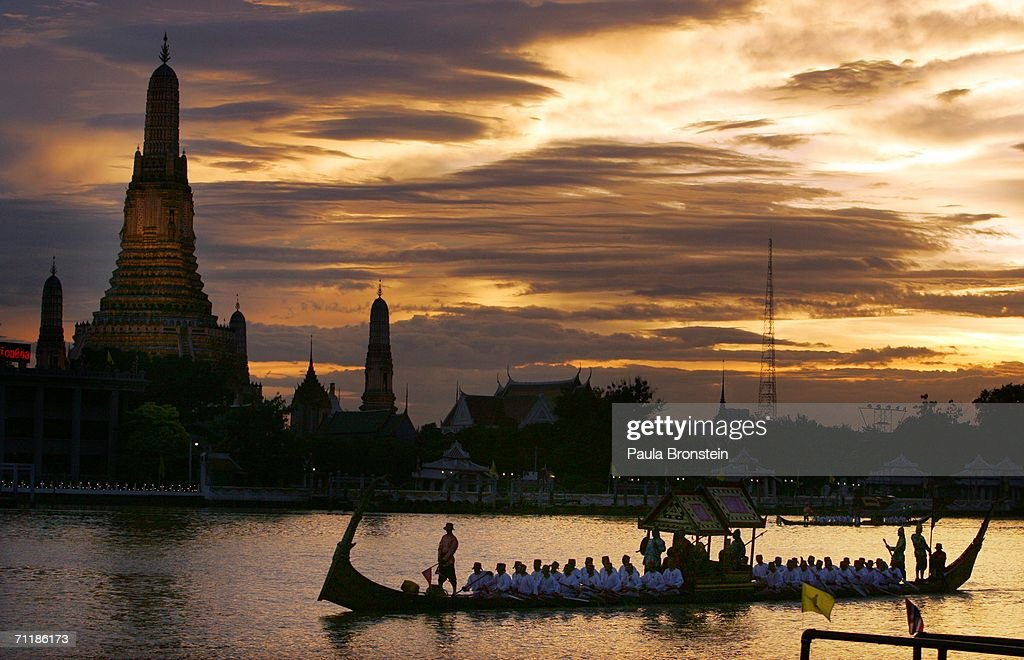 The Thai Royal Barge procession cruises down the Chao Praya river celebrating the 60th anniversary celebrations of Thailand King Bhumibol Adulyadej accession to the throne on June 12, 2006 in Bangkok, Thailand. The Royal barges are an ancient Thai tradition displayed for the foreign monarchs who have come to join the celebrations.