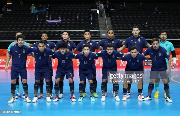 The Thailand team line up prior to the FIFA Futsal World Cup 2021 Round of 16 match between Kazakhstan and Thailand at Kaunas Arena on September 23,...