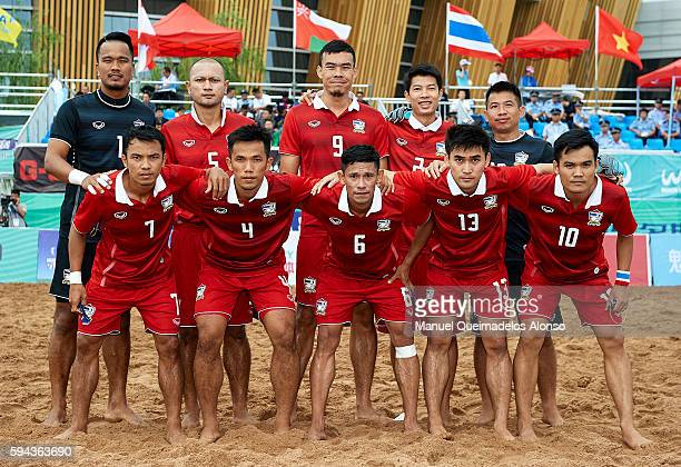 The Thailand team pose prior to the Continental Beach Soccer Tournament match between Japan and Thailand at Municipal Sports Center on August 23 2016...