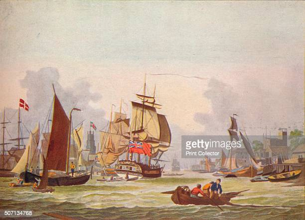 The Thames at Limehouse' c1780 After Dominic Serres From Old Ship Prints by E Keble Chatterton [John Lane The Bodley Head Limited London New York...