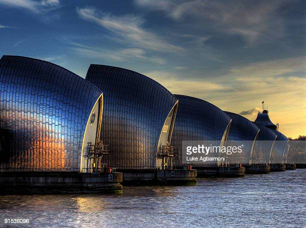 the thames barrier, london, england, uk - woolwich stock pictures, royalty-free photos & images