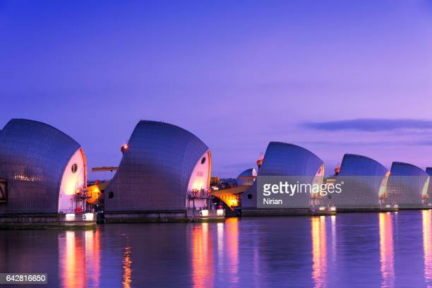 the thames barrier - woolwich stock photos and pictures