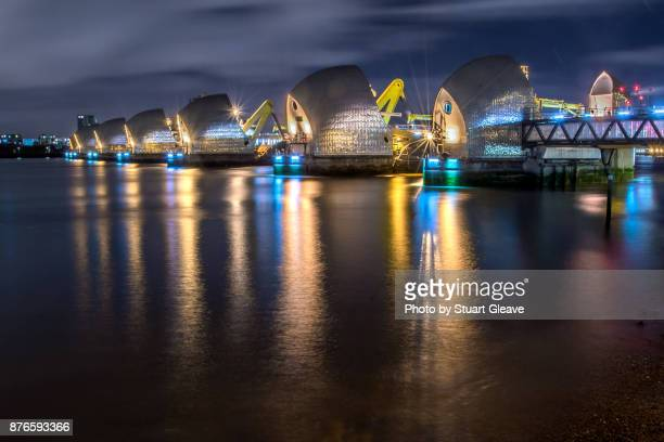 the thames barrier (london, england) - woolwich stock pictures, royalty-free photos & images