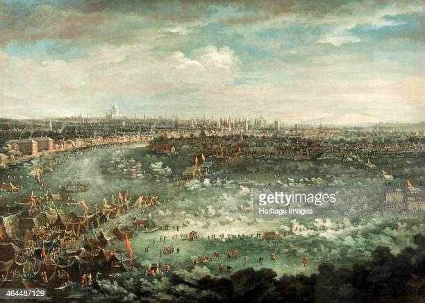 'The Thames During the Great Frost of 1739' showing the Frost Fair in the foreground and figures inspecting the incomplete piers of Westminster...