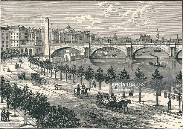 The Thames Embankment showing Cleopatra's Needle 1896 From The Life and Times of The Right Honourable The Marquis of Salisbury KG published by J S...