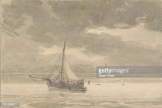 The Thames from the Ship Inn, Greenwich, Thomas Hearne, 1744–1817, British, undated, Black ink with grey and brown wash, over graphite on laid paper....