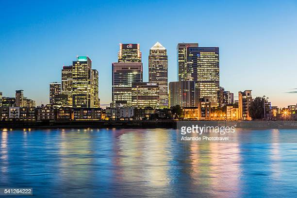 The Thames river and Canary Wharf