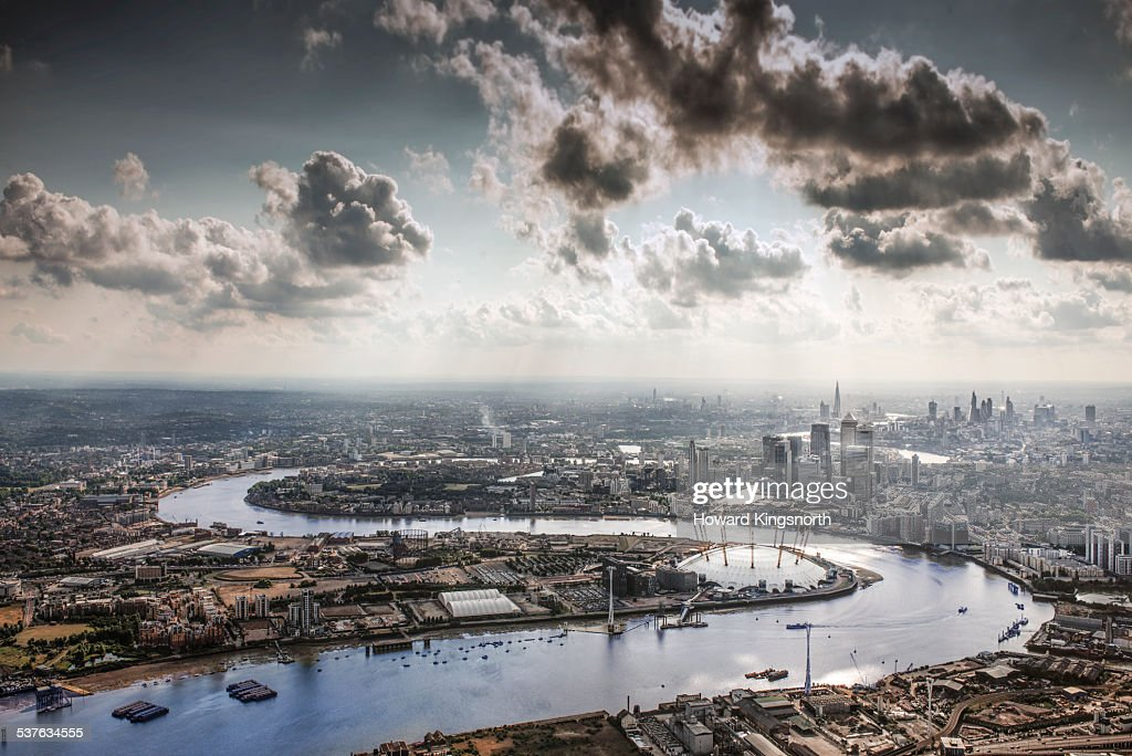 The Thames, the O2 and the city of London : Stock Photo