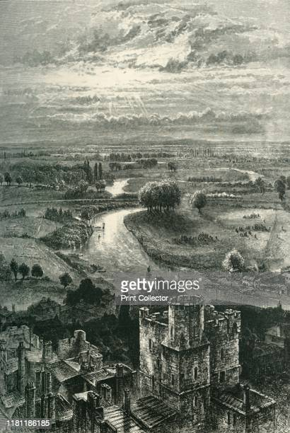 The Thames Valley from the Round Tower' circa 1870 The Round Tower at Windsor castle built in 12th century by Henry II renovated by Victorian...