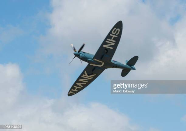 The 'Thank U NHS' Spitfire leaves Goodwood airfield at Goodwood on August 01 2020 in Chichester England The 'Thank U NHS' Spitfire will take to the...