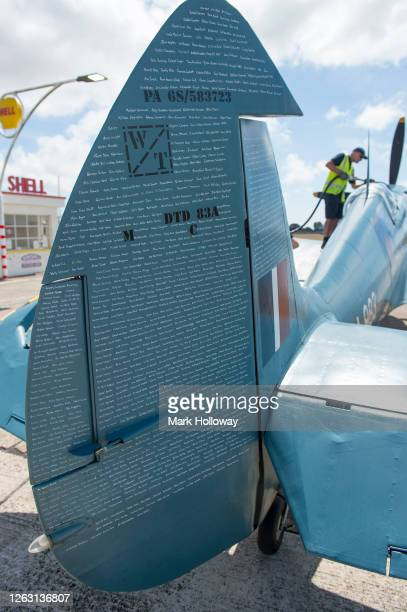 The 'Thank U NHS' Spitfire sponsorship names are displayed on the tail and rudder of the plane at Goodwood on August 01 2020 in Chichester England...