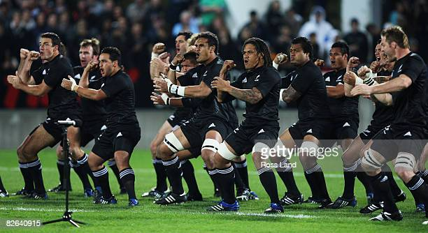 The The All Blacks perform the Haka prior to the rugby test match between New Zealand and Samoa at Yarrows Stadium on September 3 2008 in New...
