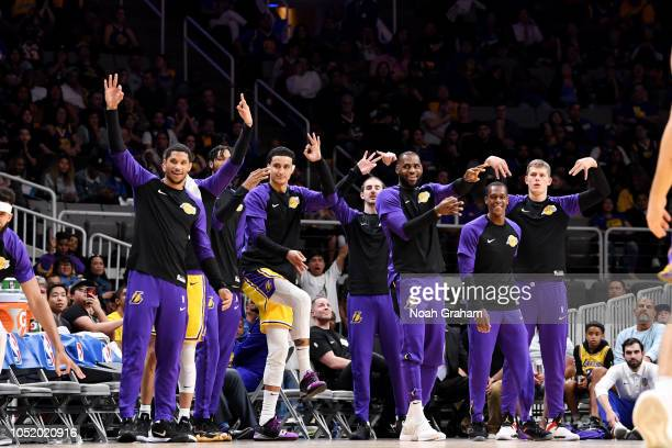the the Los Angeles Lakers bench reacts during the game against the Golden State Warriors on October 12 2018 at SAP Center in San Jose California...
