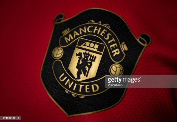 The The Manchester united club badge on the home shirt on October 14, 2020 in Manchester, United Kingdom.