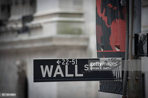 The the Wall street sign near the New York Stock Exchange is seen in New York following Donald Trump's presidential win November 9 2016 Wall Street...