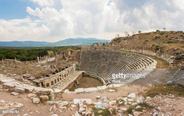 the theater of the aphrodisias - priene stock photos and pictures