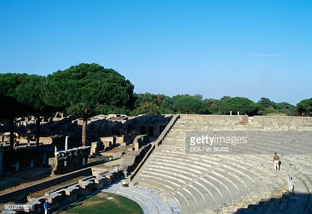 The theatre in Ostia Antica Lazio Italy Roman civilisation 1st century BC 2nd century AD