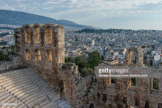 the theatre of dionysus eleuthereus - inverno stock pictures, royalty-free photos & images