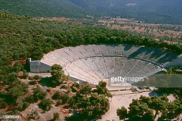 The theatre of Epidaurus in Peloponnese Greece