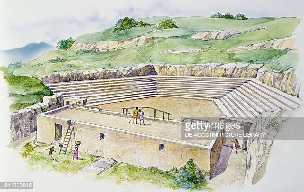 The theatre of Syracuse in 476 BC after the reconstruction by the architect Damocopo drawing Greek civilisation Italy 5th century BC