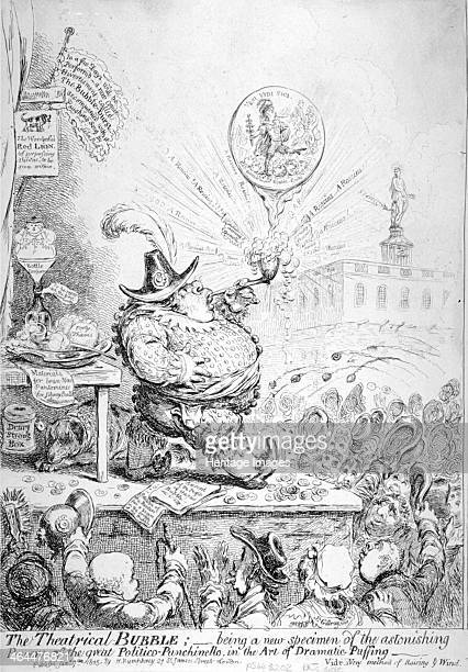 'The Theatrical Bubble...', 1851. Richard Sheridan, as Punch, standing on a platform above the heads of a cheering crowd, blowing bubbles. Behind is...