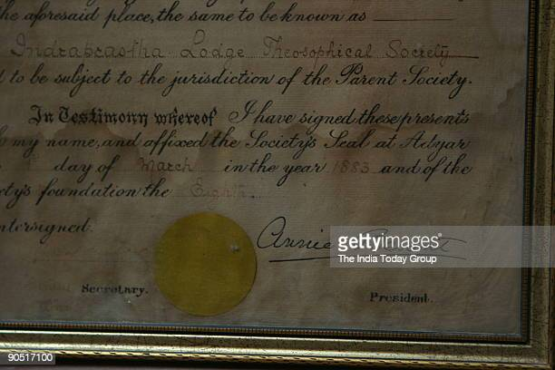 The Theosophical Society and University Brotherhood certificate duly signed by Annie Besant