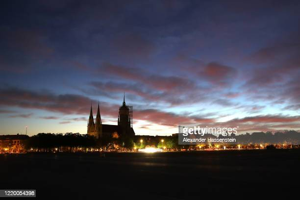 The Theresienwiese meadow, site of the annual Oktoberfest beer fest, next to the St. Paul's church at sun rise on April 21, 2020 in Munich, Germany....