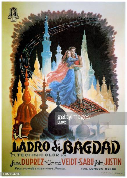The Thief Of Bagdad poster June Duprez John Justin Italian poster art 1940