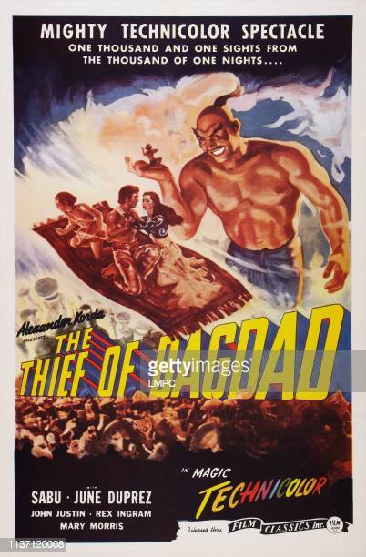 The Thief Of Bagdad poster US poster art top from left Sabu John Justin June Duprez Rex Ingram 1940