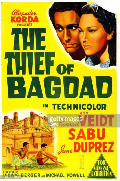 The Thief Of Bagdad poster US poster art top John Justin June Duprez bottom John Justin Sabu 1940