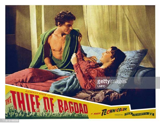 The Thief Of Bagdad US lobbycard from left John Justin June Duprez 1940