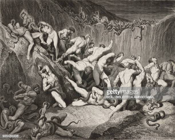 The thieves forced to stand in a pit with snakes Bolgia 7 of the eighth circle engraving by Gustave Dore Canto XXIV Inferno Divine Comedy by Dante...