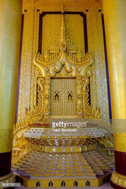 The Thihathana Throne Lion Throne situated inside the Royal Lion Throne Hall of the Kanbawzathadi Golden Palace