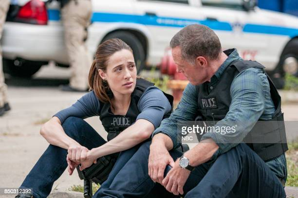 "The Thing About Heroes"" Episode 503 -- Pictured: Marina Squerciati as Kim Burgess, Jason Beghe as Hank Voight --"