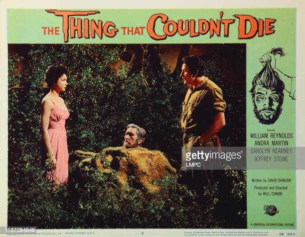 The Thing That Couldn't Die lobbycard from left Andra Martin Robin Hughes Jeffrey Stone 1958