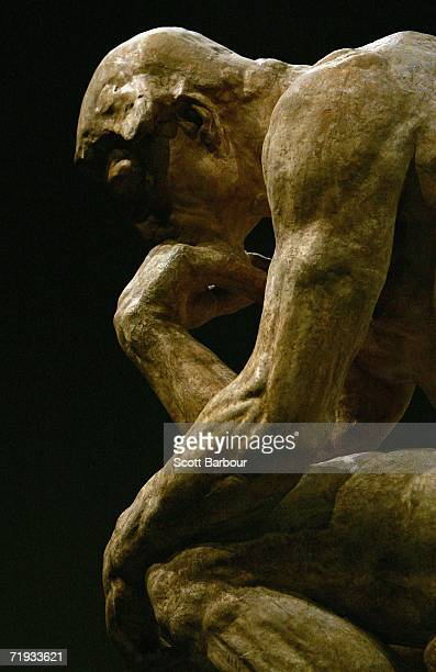 'The Thinker' by French sculptor Auguste Rodin sits on display during the press launch of the Rodin exhibition at the Royal Academy of Arts on...