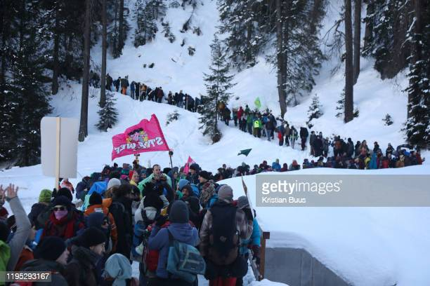 The third and last day of the Strike WEF march to Davos on 21st of January 2020 in Davos Switzerland The march is coming off the path to cross the...