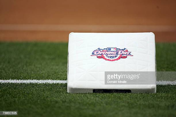 The third base bag sits outside the base path before the start of the game between the Colorado Rockies and the San Diego Padres during Opening Night...