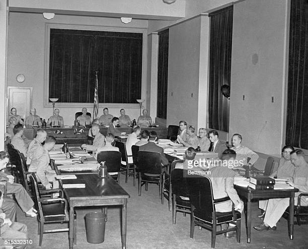 The third day of the trial of 8 Nazi saboteurs opened July 11th in the Department of Justice Building on the fifth floor Here we see the men sitting...
