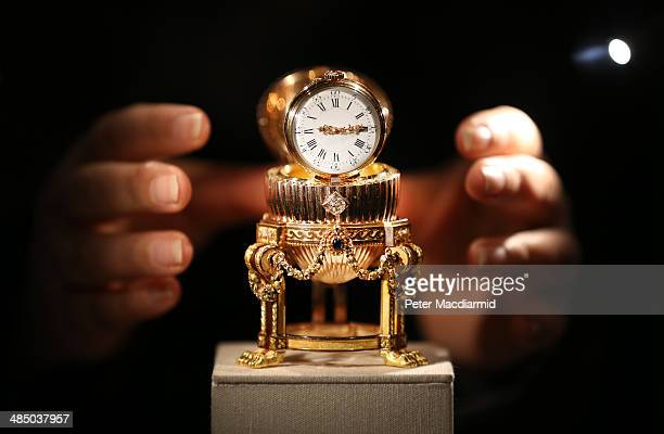 The Third Faberge Imperial Easter Egg is displayed at Court Jewellers Wartski on April 16, 2014 in London, England. This rare Imperial Faberge Easter...