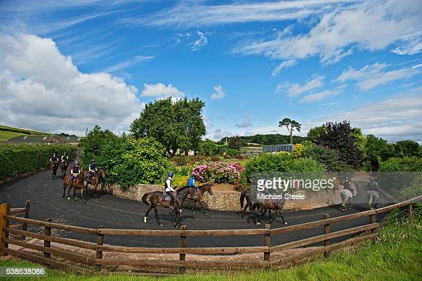 The third lot head out to the gallops at Sandhill Racing Stables on August 3 2015 in Minehead England Sandhill Racing Stables set in 500 hundred...