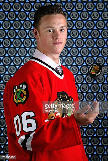 The third overall pick Jonathan Toews of the Chicago Blackhawks poses for a portrait backstage during the 2006 NHL Draft held at General Motors Place...