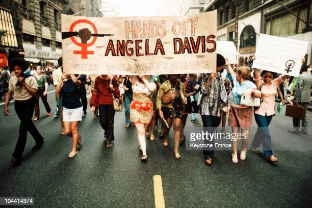 The Third World Women's Alliance marching in support of the feminist Angela DAVIS during a feminist demonstration Accused of plotting to liberate a...