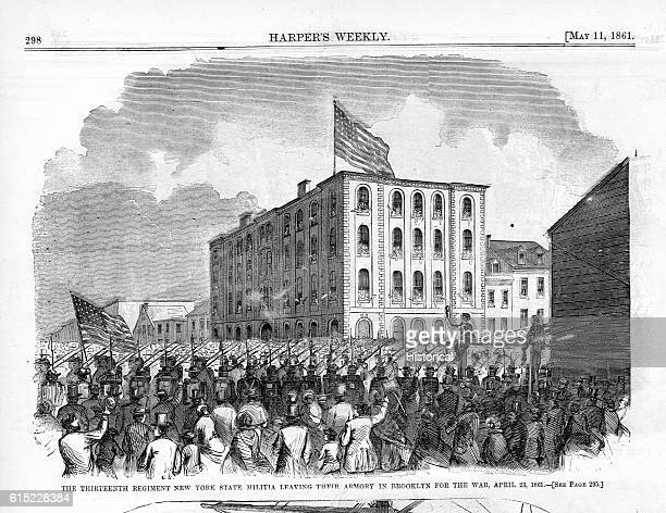 The Thirteenth Regiment New York State Militia Leaving Their Armory in Brooklyn For the War April 2
