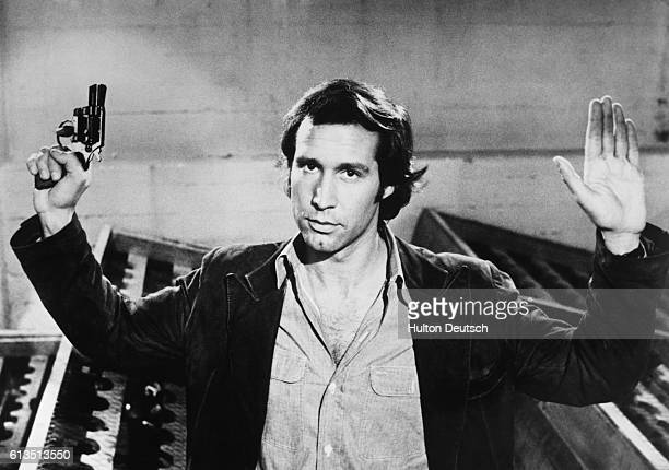 The thirtyfiveyearold American comic actor Chevy Chase during the filming of the Hollywood thriller Foul Play in 1978