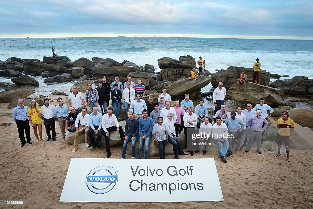 The thirty-six Champions who made up the field for the 2014 Volvo Golf Champions with the Umhlanga Beach Lifeguards as a preview for the 2014 Volvo Golf Champions on the beach at Umhlanga at Durban Country Club on January 8, 2014 in Durban, South Africa.