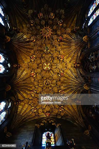 the thistle chapel ceiling, saint giles cathedral, edinburg, united kingdom - st. giles cathedral stock pictures, royalty-free photos & images