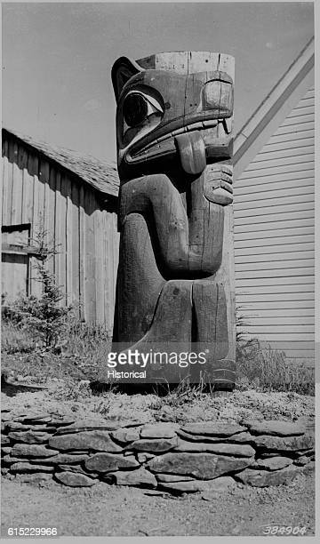 The Thlingot 'Tired Wolf Pole' in Saxman Indian Village Tongass National Forest Alaska