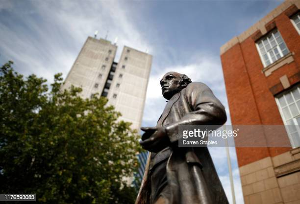 The Thomas Cook statue stands outside the railway station on September 23 2019 in Leicester United Kingdom The collapse of the 178yearold travel firm...